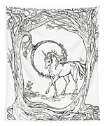 Haloed Unicorn In The Woods Tapestry
