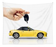 Hand Holding Key To Yellow Sports Car Tapestry