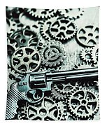 Handguns And Gears Tapestry