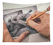 Hands Drawing Hands Tapestry