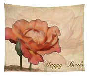 Happy Birthday Peach Rose Card Tapestry