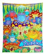Happy Frogs In Mushroom Valley Tapestry