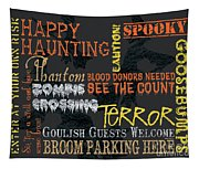 Happy Haunting Typography Tapestry