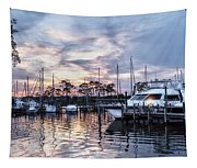 Happy Hour Sunset At Bluewater Bay Marina, Florida Tapestry