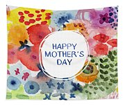 Happy Mothers Day Watercolor Garden- Art By Linda Woods Tapestry