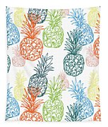 Happy Pineapple- Art By Linda Woods Tapestry
