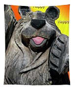 Happy Wooden Bear Craving Tapestry