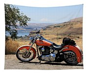 Harley With Columbia River And Mt Hood Tapestry