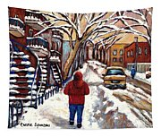 Winter Walk After The Snowfall Best Montreal Street Scenes Paintings Canadian Artist Paysage Quebec Tapestry