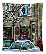 Achetez Les Meilleurs Scenes De Rue Montreal St Henri Cafe Original Montreal Street Scene Paintings Tapestry