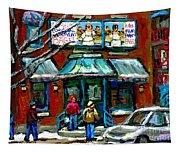 Achetez Les Meilleurs Scenes De Rue Montreal Boulangerie St Viateur Original Montreal Street Scenes  Tapestry