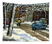 Canadian Artist Winter Scenes Original Paintings Quebec Streets Achetez  Montreal Art Online Tapestry