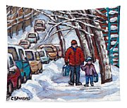 Paysages De Verdun Quebec A Vendre Original Verdun Montreal Winter Staircase Street Scene Paintings  Tapestry
