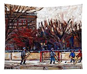 Paysages De Quebec Petits Formats A Vendre Hockey Rink Paintings Psc Original Montreal Street Scenes Tapestry