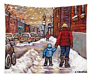 Original Montreal Street Scene Paintings For Sale Winter Walk After The Snowfall Best Canadian Art Tapestry