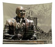 Harry Caray Statue With Historic Wrigley Scoreboard In Heirloom Tapestry