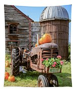 Harvest Time Vintage Farm With Pumpkins Tapestry
