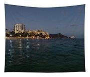 Hawaiian Lights - Waikiki Beach And Diamond Head Volcano Crater Tapestry