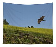 Hawk Flying Over Field Of Yellow Mustard Tapestry