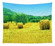 Hay Harvest In Tuscany Tapestry