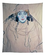 Head Of A Woman Tapestry by Gustav Klimt