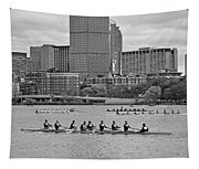Head Of The Charles. Charles Rowers Black And White Tapestry