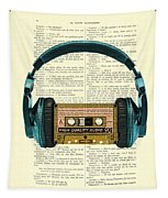 Blue Headphone And Yellow Cassette Collage Print Tapestry