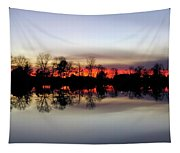 Hearns Pond Silhouette Tapestry