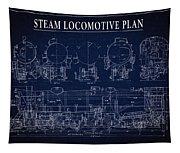Heavy Steam Locomotive Blueprint Tapestry