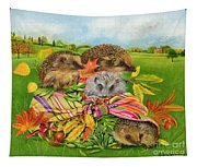 Hedgehogs Inside Scarf Tapestry