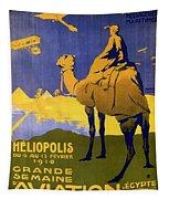 Heliopolis, Egypt - Grande Semaine D'aviation - Retro Travel Poster - Vintage Poster Tapestry