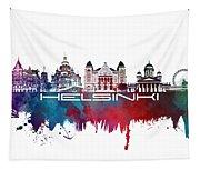 Helsinki Skyline City Blue Tapestry