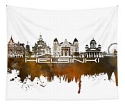 Helsinki Skyline City Brown Tapestry