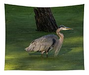 Heron In Dark Pond Tapestry