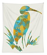 Heron Watercolor Art Tapestry