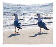 Herring Gulls On The Beach Tapestry