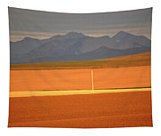 High Plains Of Alberta With Rocky Mountains In Distance Tapestry