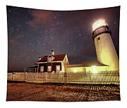Highland Light Truro Massachusetts Cape Cod Starry Sky Shadow Tapestry