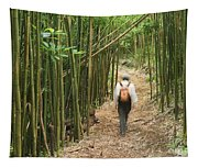 Hiker In Bamboo Forest Tapestry