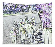 Hiking Down The Street I  Painterly Glowing Edges Invert  Tapestry