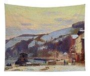 Hillside At Croisset Under Snow Tapestry