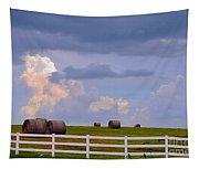 Hillside Hay Bales At Sunset Tapestry