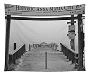 Historic Anna Maria City Pier In Fog Infrared 52 Tapestry