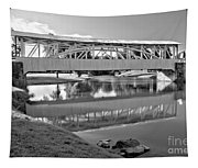 Historic Halls Mill Bridge Reflections Black And White Tapestry