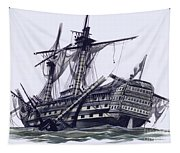 Hms Victory After The Battle Of Trafalgar, With Mizzen Topmast Shot Away Tapestry