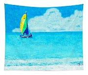 Hobie Sailing Off Lido Beach Coast Tapestry