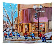 Hockey At Beautys Deli Tapestry