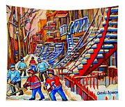 Hockey Game Near The Red Staircase Tapestry