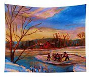 Hockey Game On Frozen Pond Tapestry