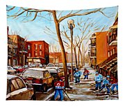 Hockey On St Urbain Street Tapestry